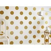 Graham & Brown - Papier peint 100% intissé motif pois doré 10.05x0.52m Dotty