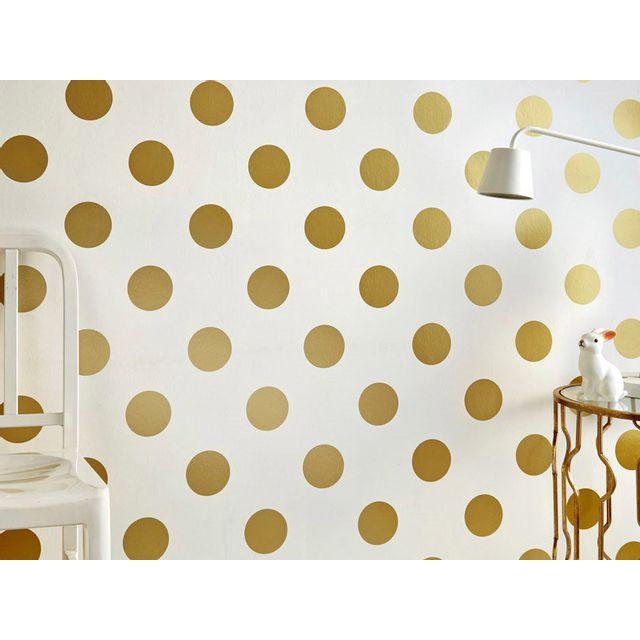 Papier peint en intissé motif pois doré Dotty