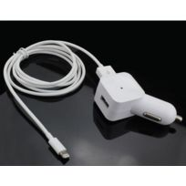 Coquediscount - Chargeur voiture muvit Apple Lightning Mfi 1A 1.2m blanc