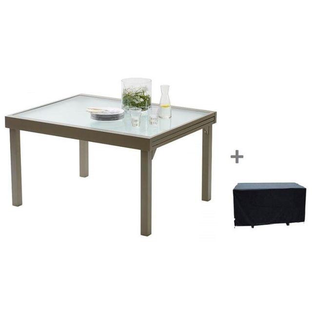 Wilsa - Table De Jardin Modulo Taupe 6 A 10 Personnes Avec Rallonge ...