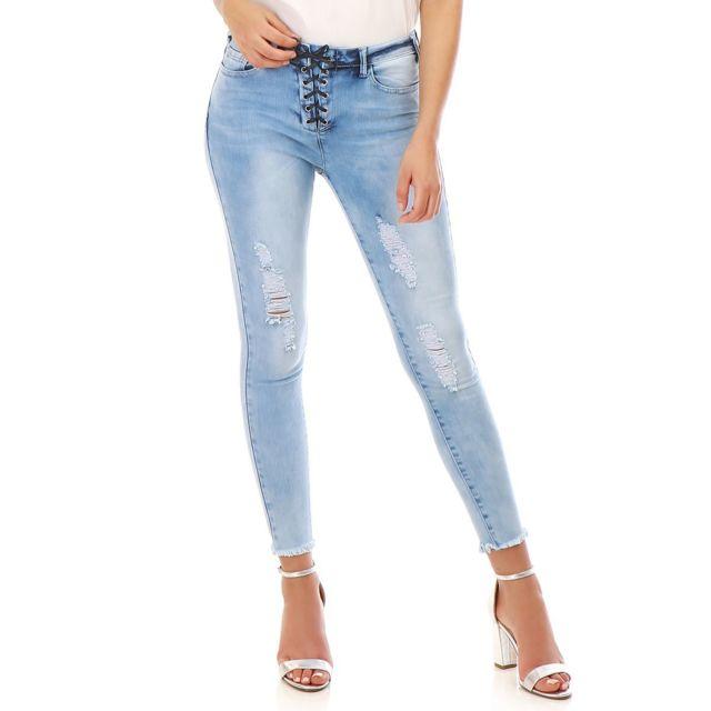 Destroy Clair Délavé Jeans Slim Bleu Avec Laçage Lamodeuse 1Jc3lTFK