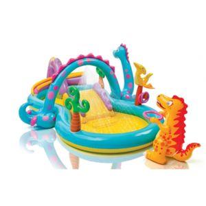 Intex   Piscine Aire De Jeu Gonflable   Dinoland   Avec Toboggan