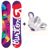 Burton - Pack Snowboard Genie Femme + Fixations Stiletto Disc