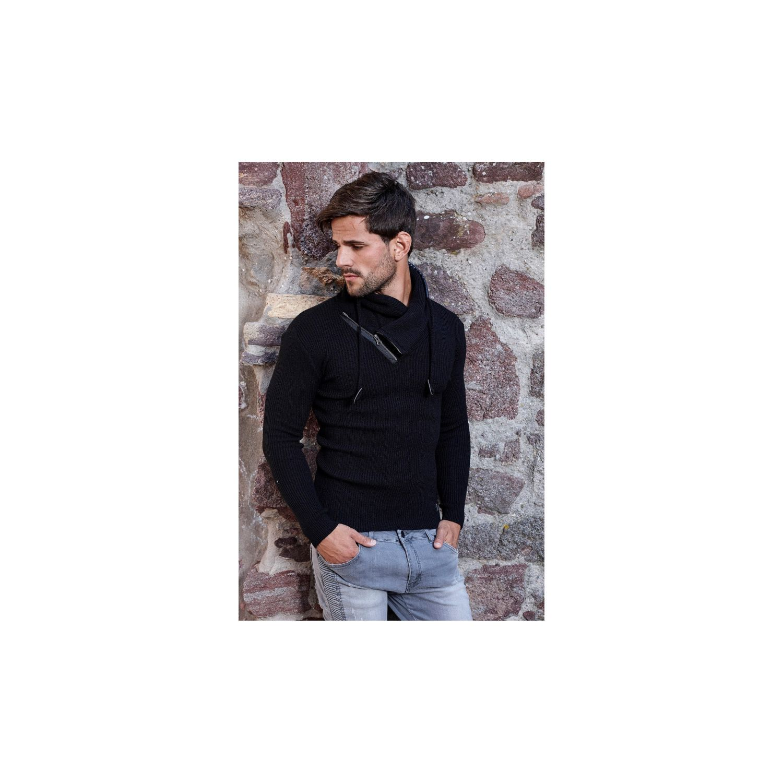Soldes Beststyle - Pull ajusté homme noir cole chale zippé fashion ... d963045f94d