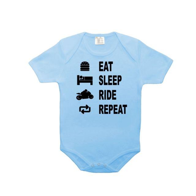 5758c1b40f2e0 Mygoodprice - Body bébé 100% coton eat sleep moto 0-3 mois Bleu ...