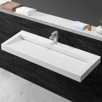 Rue Du Bain - Lavabo suspendu rectangulaire blanc mat composite - 120x45 cm - Urban
