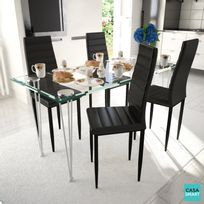 Casasmart - Ensemble table en verre + 4 chaises noires