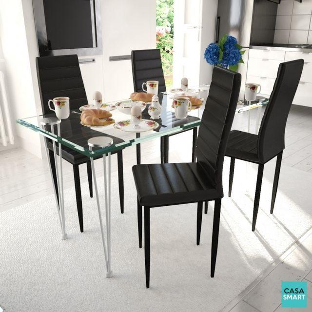 Casasmart Ensemble table en verre + 4 chaises noires