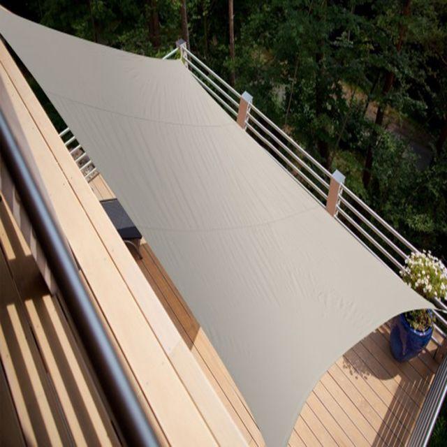 pegane voile d 39 ombrage rectangulaire taupe en polyester. Black Bedroom Furniture Sets. Home Design Ideas