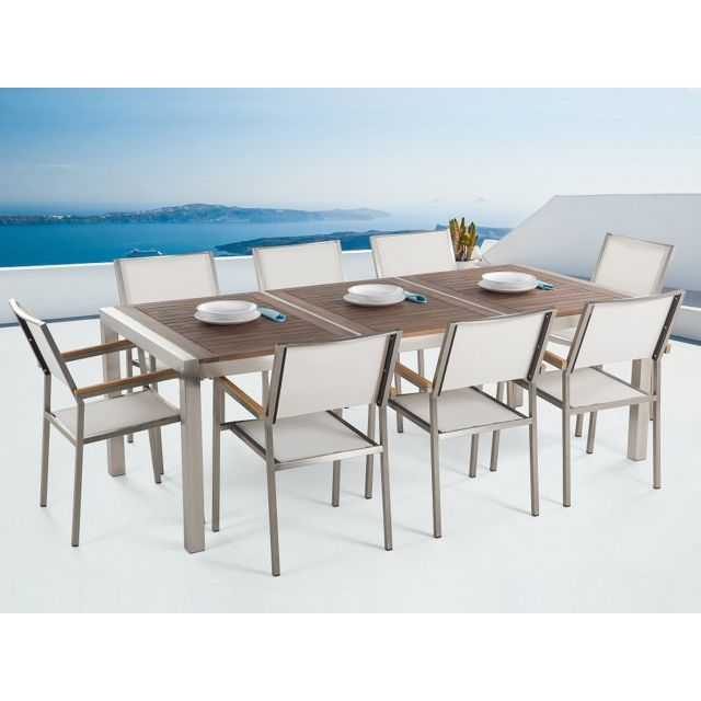 Beliani - Table de jardin acier inox - plateau bois triple ...