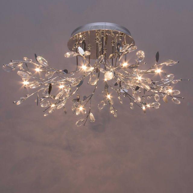 kosilum - lustre plafonnier chromé cristal aiken télécommande - en