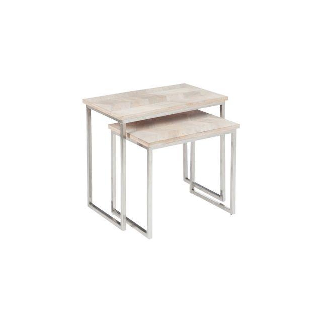 Set de 2 tables gigognes en métal et bois 64x38x61cm