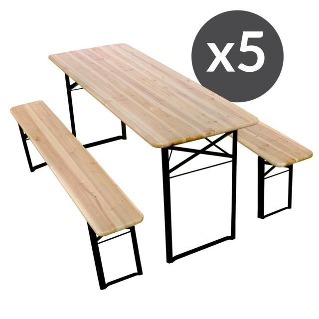 Mobeventpro Table et bancs bois Brasserie 220 cm - Lot de 5