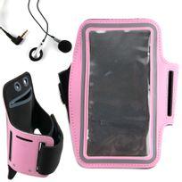 Duragadget - Brassard de sport / course / jogging rose pour smartphone, Mp3/MP4 + écouteurs Dimensions : 155 x 75 mm