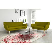 Modern Sofa - Canapé Adele 3+2 Pu soft 13 apple avec pieds naturels sofa divan