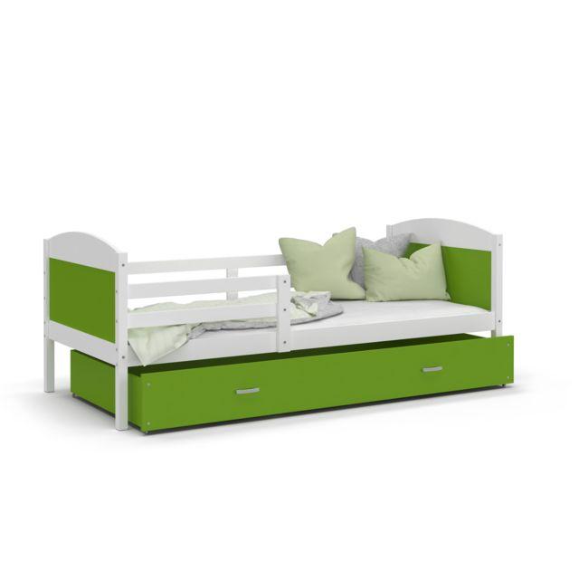 Kids Literie Lit enfant Mateo 90x190 blanc vert livré avec tiroir, sommier et matelas en mousse de 7cm offert