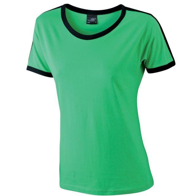f29e3fd46e0a James   Nicholson - T-shirt bicolore pour femme Jn018 - vert et noir ...
