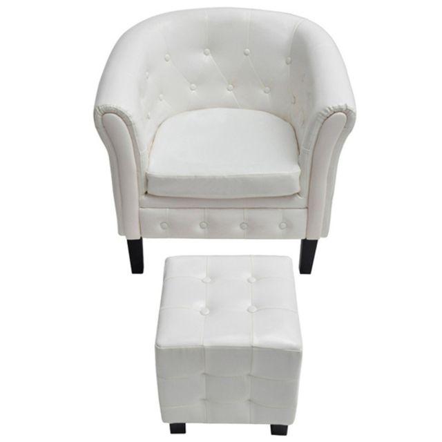 Helloshop26 Fauteuil lounge relax salon salle à manger chesterfield avec pouf blanc 1102008