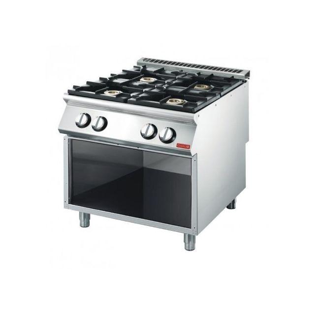 Gastro M Piano de cuisson 4 brûleurs 18,4 kw - placard ouvert 700