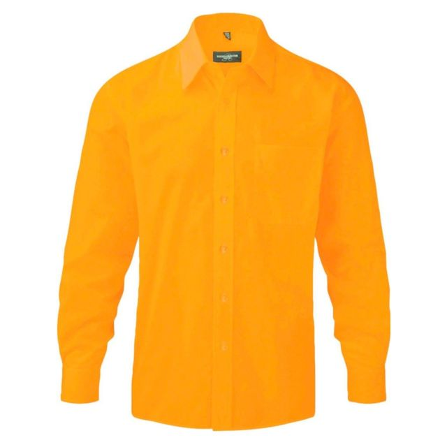 Fashion Cuir Chemise popeline poche poitrine Couleur - orange, Taille Homme - Xl