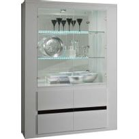 vitrine laque blanc achat vitrine laque blanc pas cher. Black Bedroom Furniture Sets. Home Design Ideas