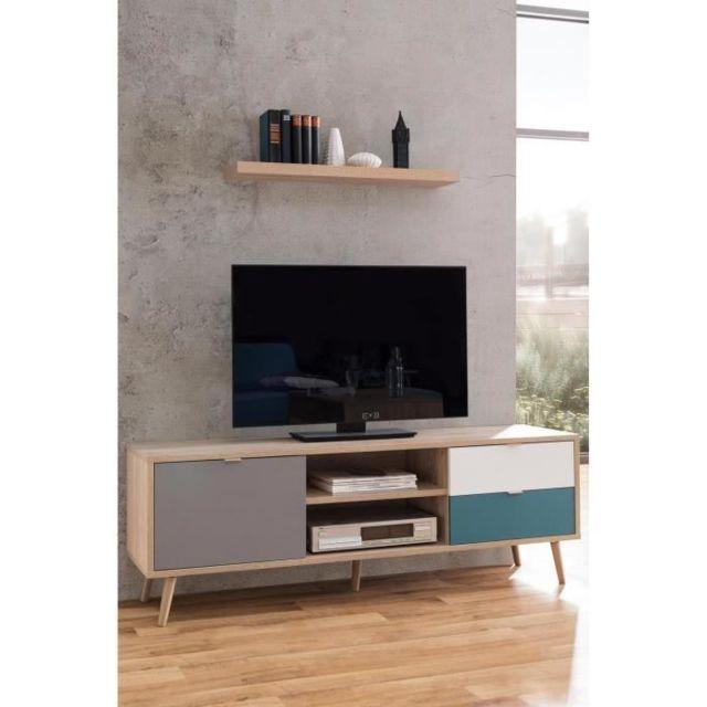 MEUBLE TV - MEUBLE HI-FI CUBA Meuble TV scandinave décor chene, gris, blanc et bleu pétrole - L 150 cm