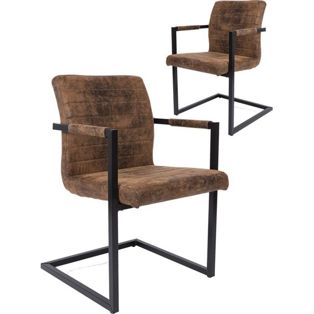 tissu chaises brun Ensemble 2 de modernes COMFORIUM en j4RL5A3q