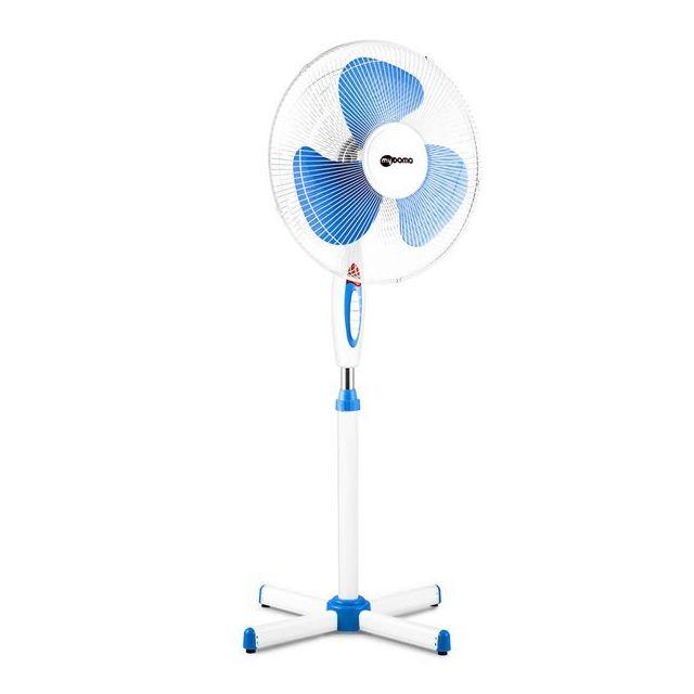 Mydomo Ventilateur sur pied blanc 45 Watts 3 vitesses oscillant diametre 40 cm