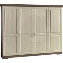 Comforium - Armoire 230x220 cm à 4 portes coloris porcelaine truffe