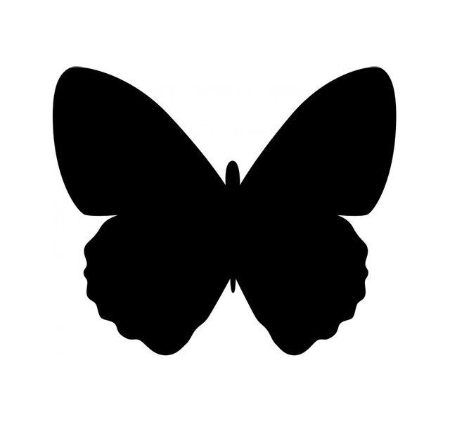 Securit Silhouette papillon ardoise - Feutre-craie inclus et kit velcro pour accrochage mural - 30x50cm
