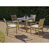 "Hevea Jardin - Hevea - Table de jardin ""Abasari"" 80 cm + 4 fauteuils avec coussins blancs cassés"