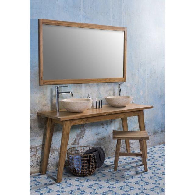 Ensemble de salle de bain en bois de teck avec 2 vasques et 1 miroir