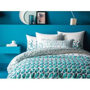 matt rose housse de couette r versible 100 coton triangle graphique bleu vert tendance. Black Bedroom Furniture Sets. Home Design Ideas