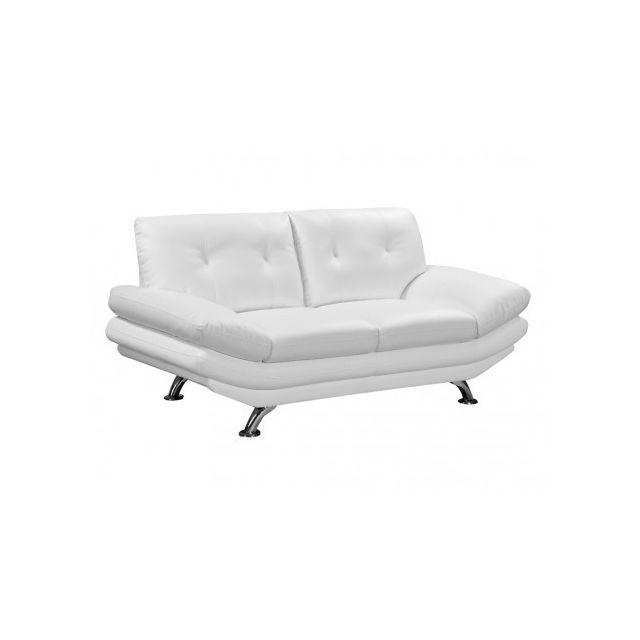 Canapé 2 places en simili FORREST - Blanc