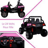 f905c33a34b3b Voiture Electrique - Grand 4x4 buggy voiture électrique enfant 24 volts 2  places pour fille rose pneus gomme Eva