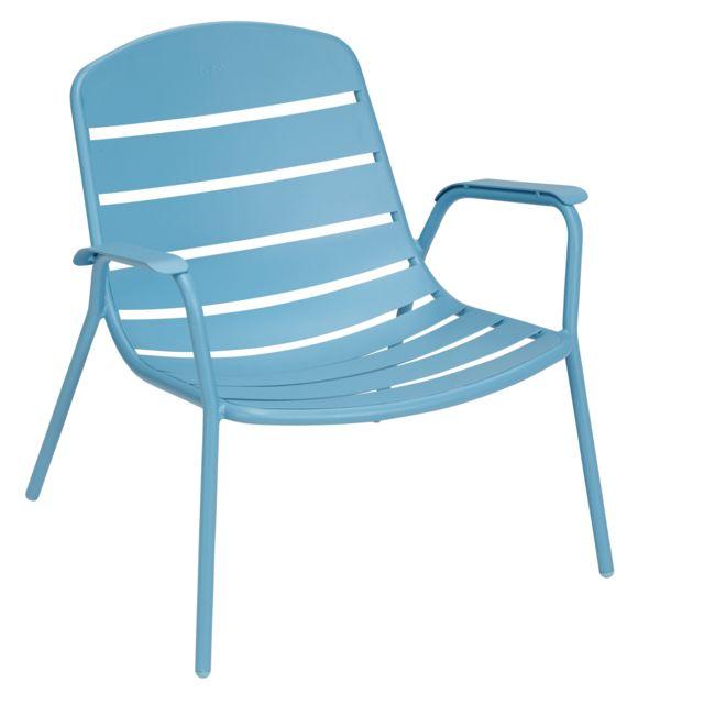 hyba fauteuil bas de jardin alu 151 bleu pas cher achat vente chaises de jardin. Black Bedroom Furniture Sets. Home Design Ideas