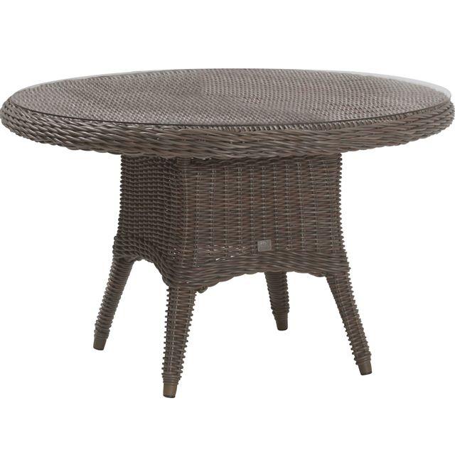 Comforium Table de jardin ø 130 cm en résine tressée coloris brun + vitre incluse