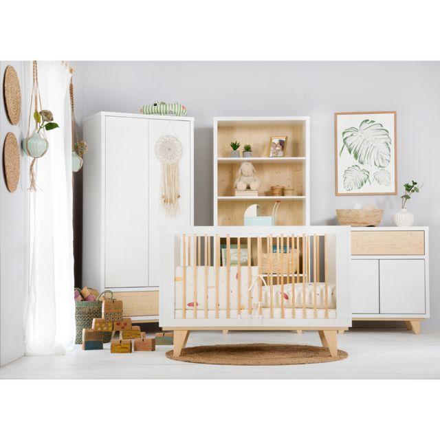 Klups Chambre complète lit évolutif 70x140 - commode - armoire 2 portes LittleSky by Lydia - Blanc