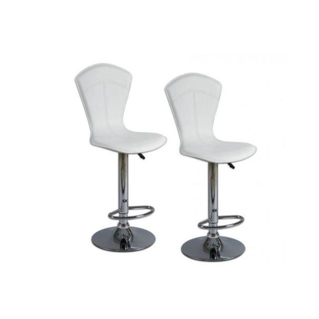Inside 75 Lot de 2 chaises de bar Beautiful blanches
