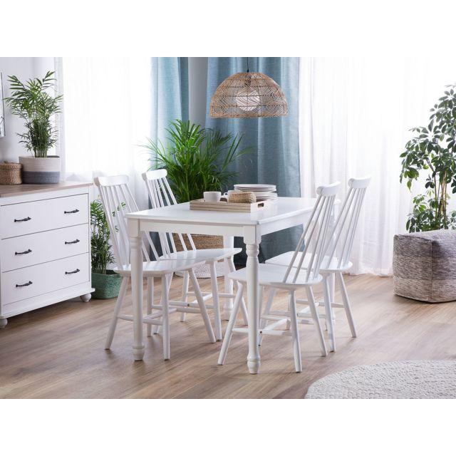 Lot de 2 chaises blanches en bois BURBANK blanc