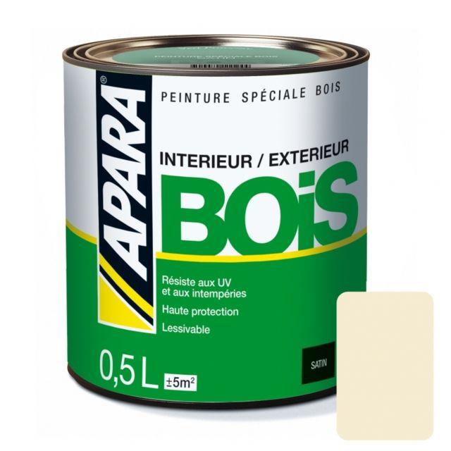 Apara - Peinture Bois Satin-0.5 litre-Blanc cassé RAL 1015