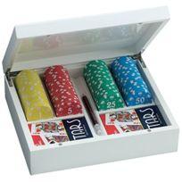 Juego - Ju00065 Jeu De Cartes Poker Set, 100 Fiches Giunevere Game Set BLANC