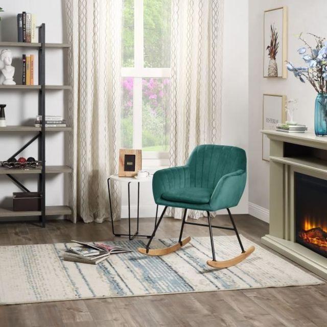 Icaverne Fauteuil Jens Fauteuil Rocking Chair - Velours Vert sapin - Pieds hetre naturel - L 63 x P 75 x H 80 cm