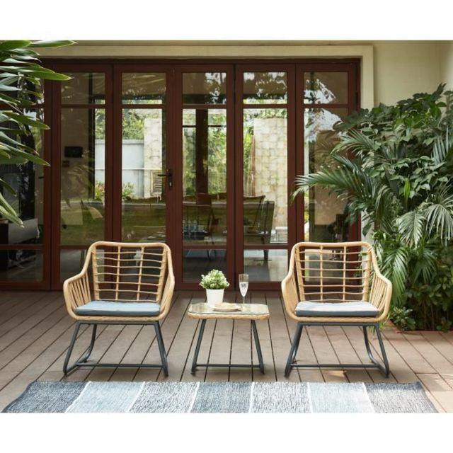 Salon De Jardin - Ensemble Table Chaise Fauteuil De Jardin Salon de jardin  en résine imitation rotin 2 personnes Cap Coussin gris