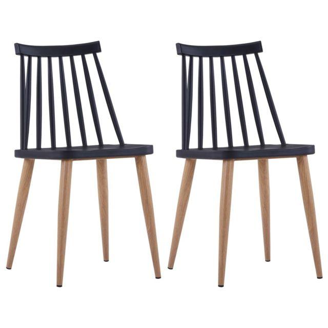Contemporain Fauteuils et chaises ensemble Amsterdam 2 pcs Chaises de salle à manger Noir Plastique