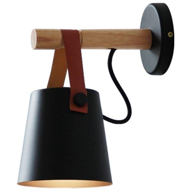Applique Murale Led En Bois Lit Lampe De Chevet Veilleuse Moderne Abat Jour Nordic Décor à La Maison Noir