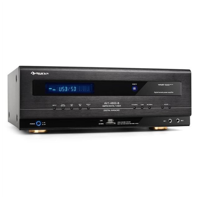 AUNA - AVI-4800 Ampli Hifi récepteur surround USB SD MP3 1000W max