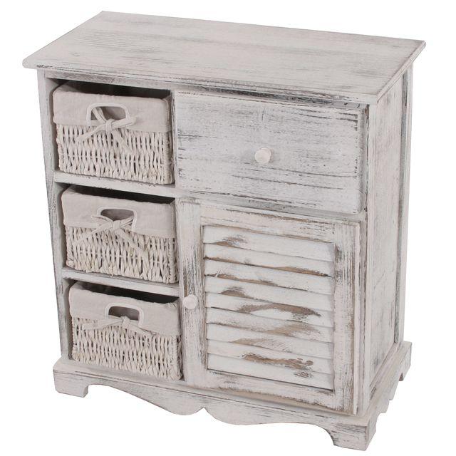 Mendler Commode / table d'appoint / armoire, 3 paniers, 1 tiroir, 60x30x63cm, shabby, vintage, blanc