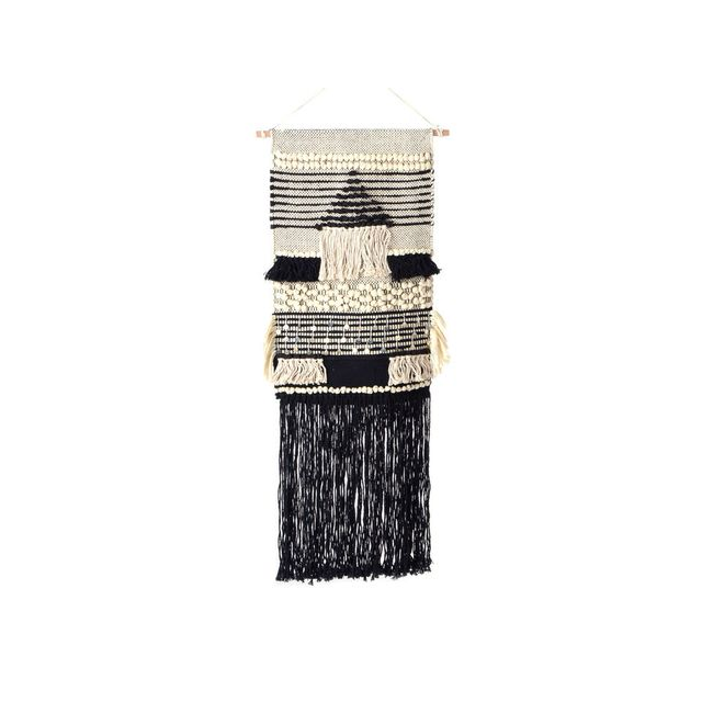 Amadeus - Décoration murale 100% coton H.80cm motif ethnique noir et blanc ivoire Ailleurs