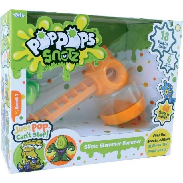 JEU DE PATE A MODELER POPPOPS - Marteau Pop pop - 1 marteau, 18 bulles de slime verte a éclater & 6 figurines surprises